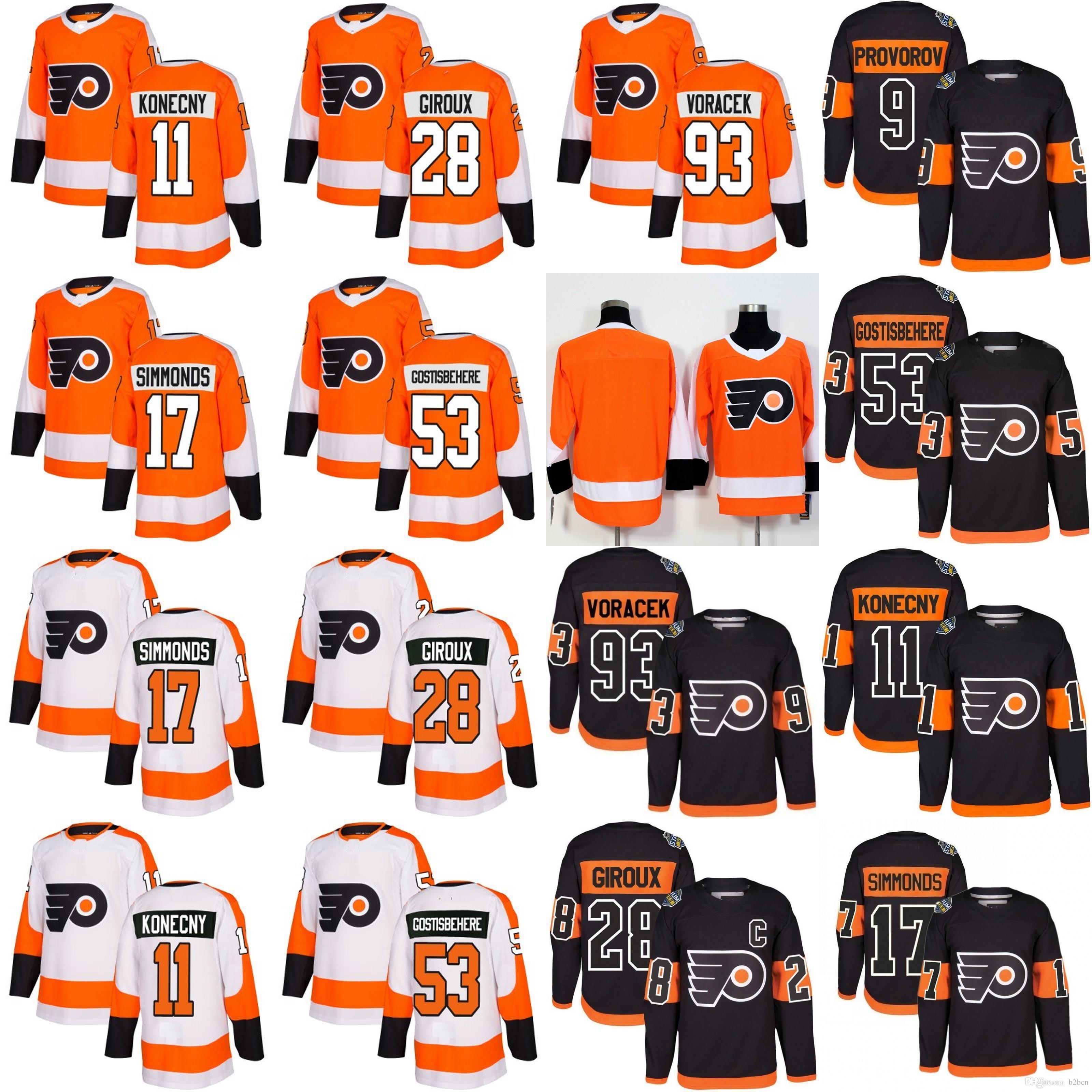 e22cb349c Philadelphia Flyers 53 Shayne Gostisbehere 17 Wayne Simmonds 28 Claude  Giroux Jakub Voracek Ivan Provorov Konecny Eric Lindros Hockey Jersey  Shayne ...