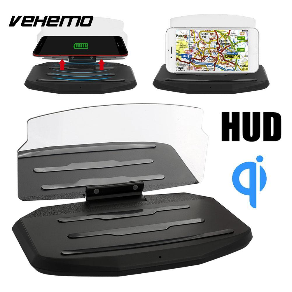 Vehemo Black Car GPS Holder Head-Up Display Projection Bracket Multi-Functional Wireless Charger Phone HUD Stand Charging