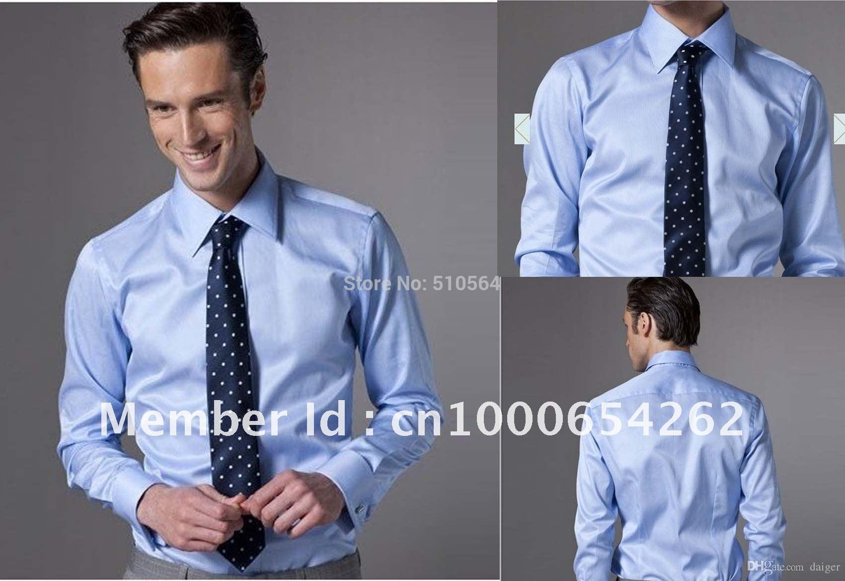 Compre Wholesale Custom Made Homens De Algodão Camisa De Cor Azul Claro  Homens De Negócios Camisa Slim Fit Seu Corpo Bem De Daiger c53c4f6479b8a
