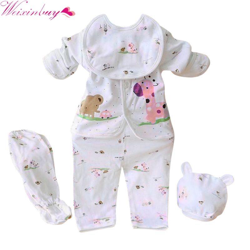 b10b05908 2019 Newborn White Cotton Baby Boy Girl Clothing Cotton Cartoon Monk Tops  Pants Bib Hats Infant Clothes 0 3 Months From Mobiletoys