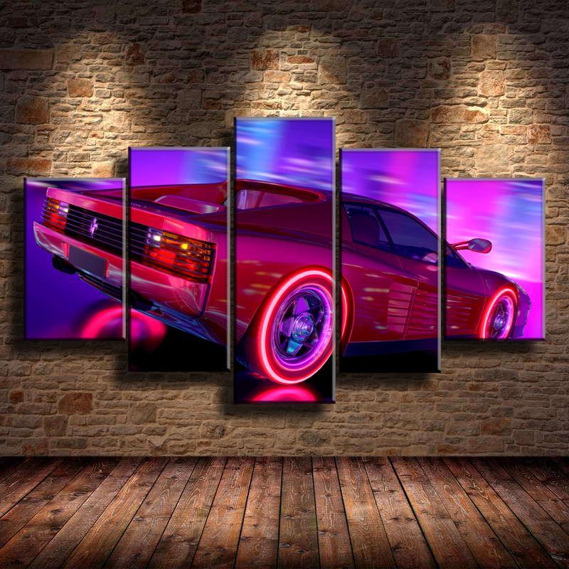 Satın Al Ferrari Testarossa Retro Dalga 5 Parça Ev Dekorasyonu Hd