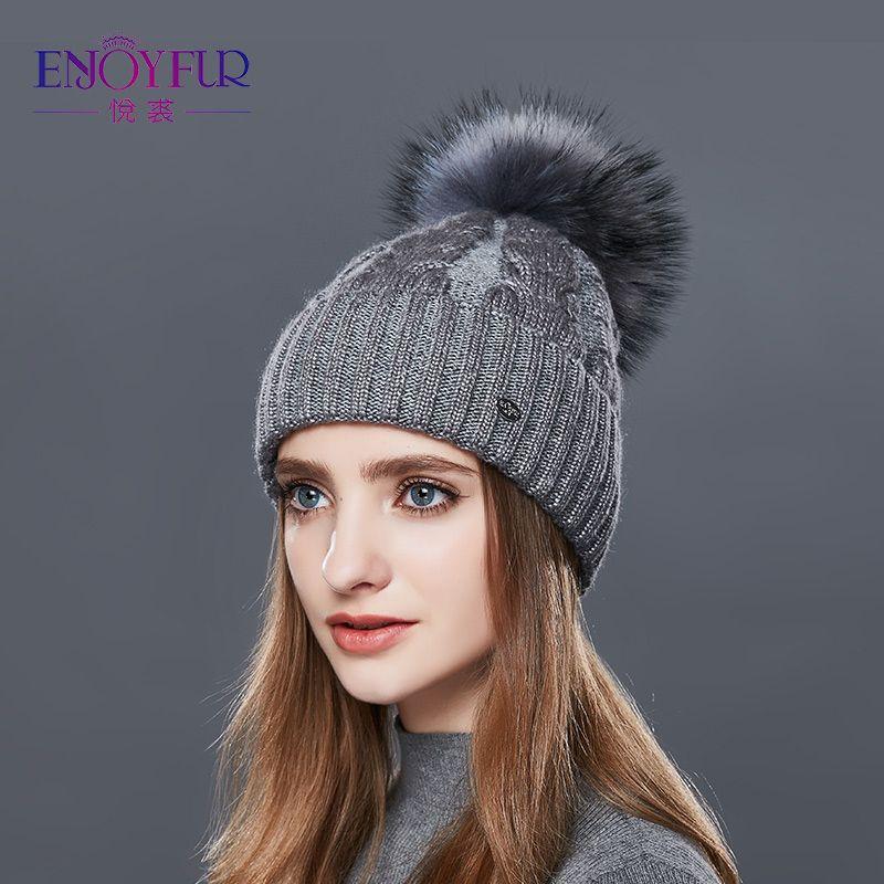 a010f56d104 ENJOYFUR Fashion Winter Hats Caps Women Rough Twist Type Cashmere Knitted  Hat Female Girl Thick Warm Beanie Fur Pompom Gorro Cute Beanies Red Beanie  From ...