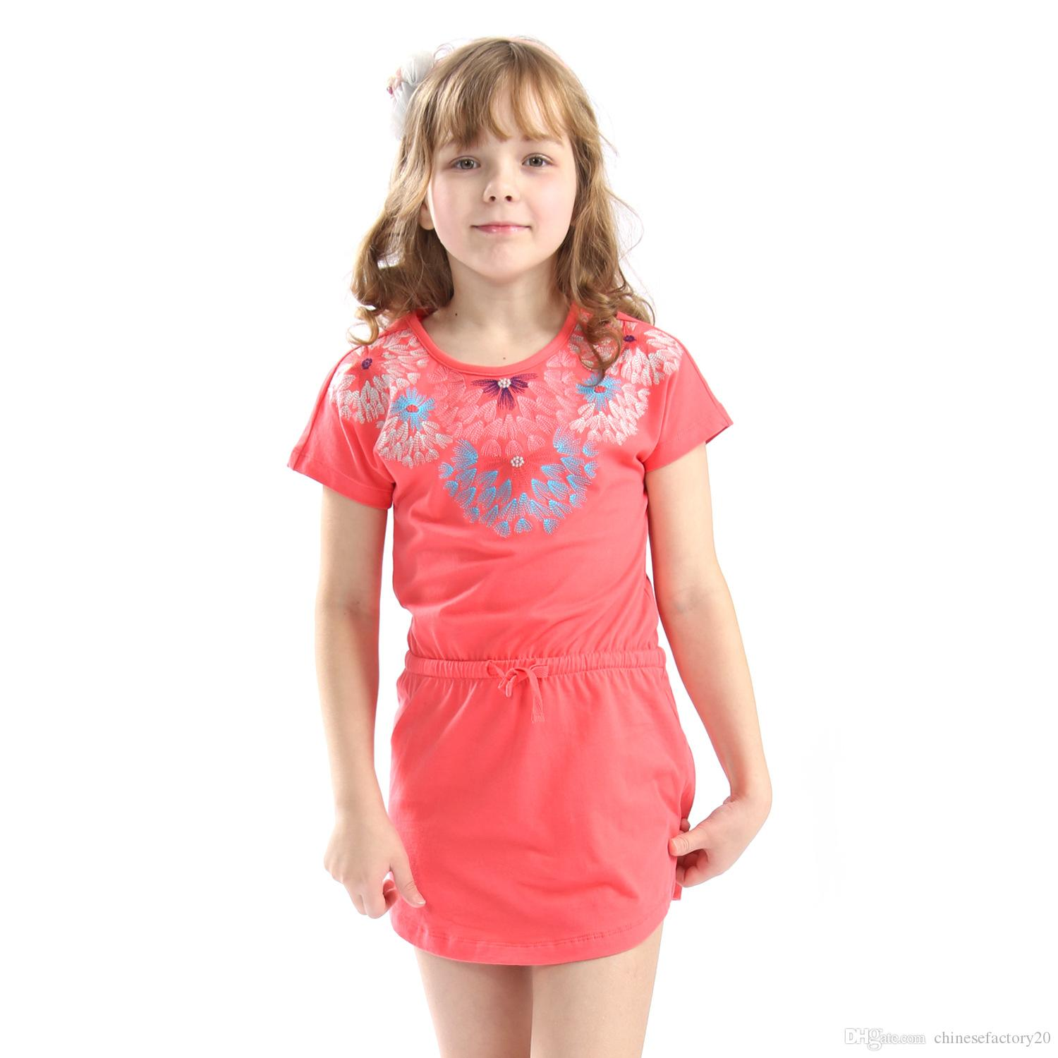 ab34bcee534a 2019 Girls Dresses 100% Cotton Flower Princess Short Sleeve Sundresses Baby  Big Kids Clothes Toddler Summer School Dresses Fashion Clothing From ...