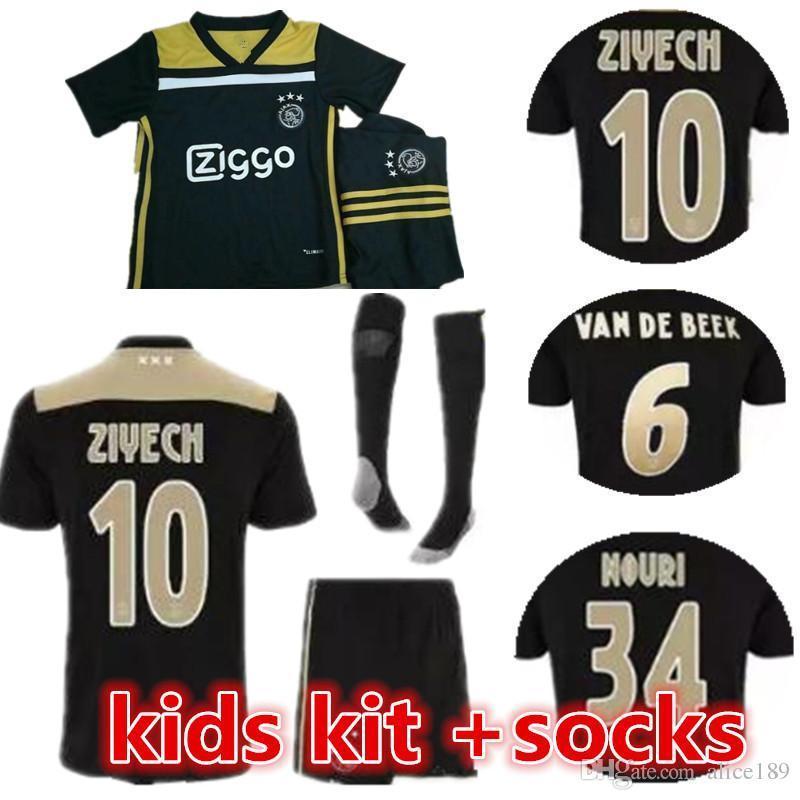 2ed1b66b20cf9 Acheter 2018 2019 Meilleure Qualité Ajax Enfants Soccer Jersey 18 19 Ajax  Away Enfants Soccer Shirt 2019 Personnalisé # 10 KLAASSEN # 34 NOURI  Football ...