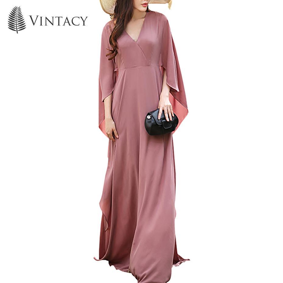 8e3dc6c28a1 Women Holiday Long Dress Batwing Sleeve Floor Length Elegant Travel Sun Dress  V Neck Dark Vacation Pink Plain Loose Maxi Dress Womens Knit Dress Summer  ...