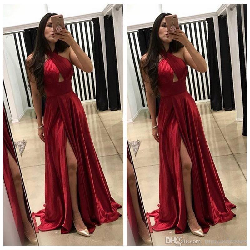 ec86cba81cbb Halter Dark Red A-Line Prom Dresses 2018 Abiti da sera economici Fessura  Vestidos De Fiesta Party Wear