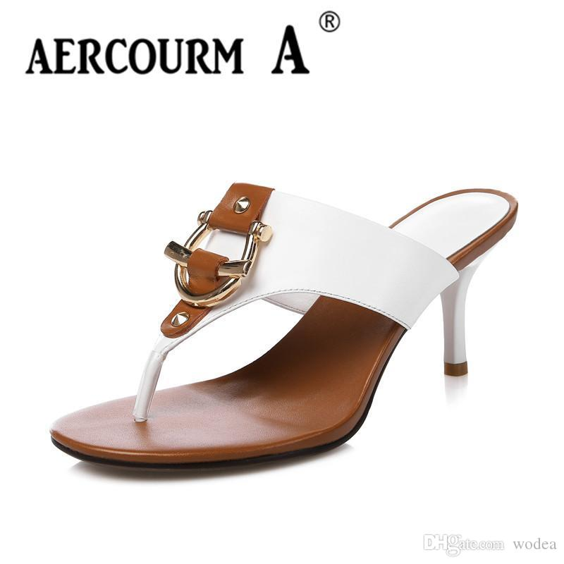 Aercourm A 2018 Women Genuine Leather Sandals Flip Flops Woman Shoes Comfort Summer High Heel Sandals Leather Brand Shoes H746