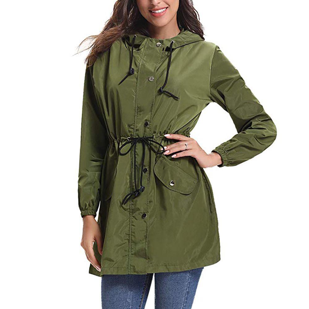 dc8cfa331 Vestes imperméables légères pour les femmes Hoodie Vestes extérieures avec  manteau de pluie longue conception cordon de conception active