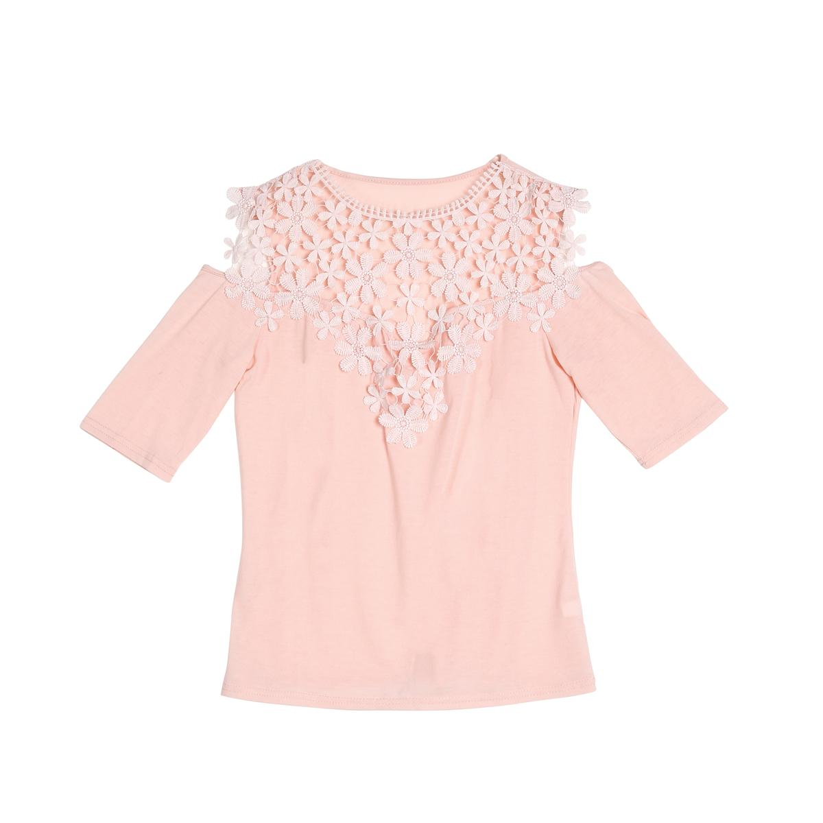 5622e12f89627b Ladies Slim T-Shirts One Pieces Trendy Women Half Sleeve Casual Lace Round  Neck Tops Pullover Online with  33.51 Piece on Lixlon04 s Store