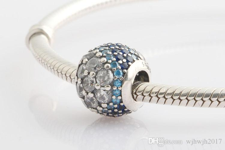 New Authentic 925 Sterling Silver Blue Enchanted Pave Crystal Charm Fit European Charm Bracelet Bangle For Women DIY Jewelry Marking