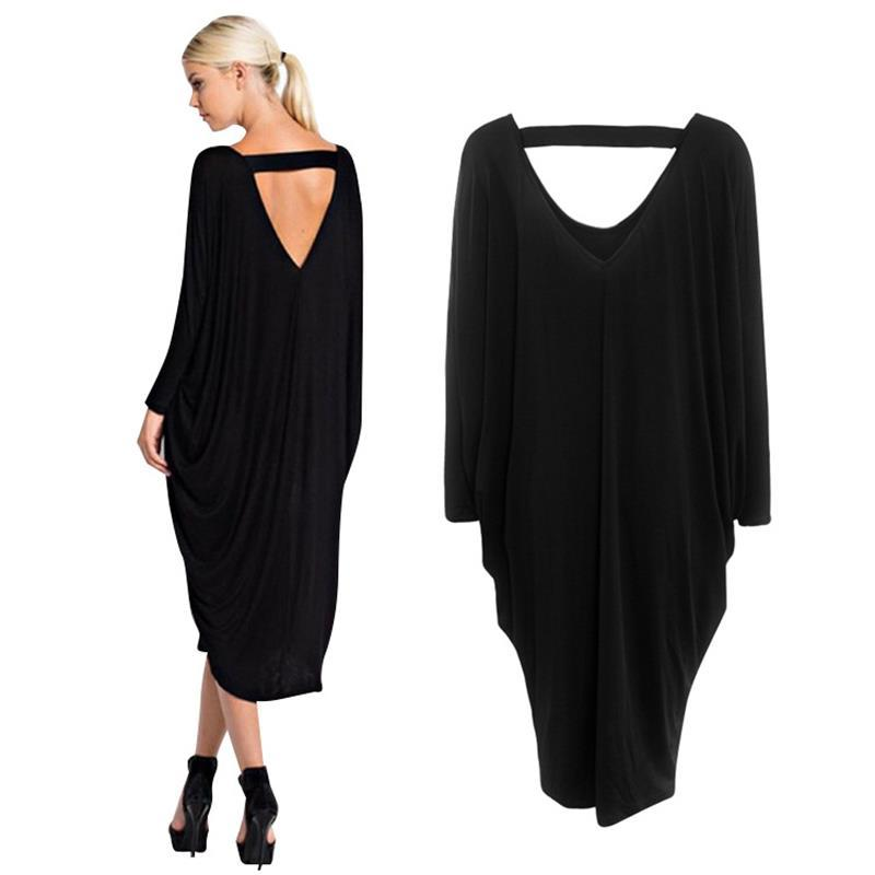 edb3ff8cbe4e 2017 New Fashion Women Dress Autumn Loose Free Size V-neck Pleated ...