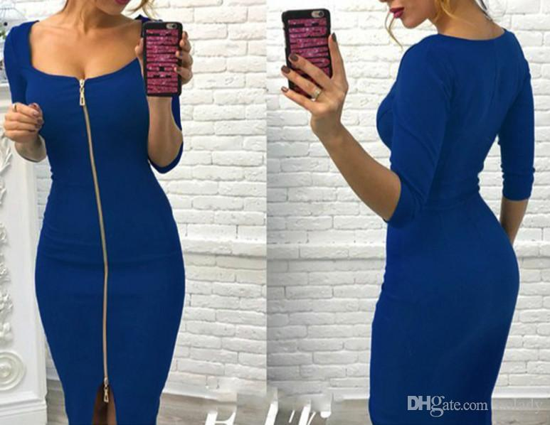 Sexy Senhoras Bodycon Zipper Vestido 2018 Outono Inverno Vestidos Sólida Elegante Festa Vestidos de Moda Mulheres Vestidos Plus Size