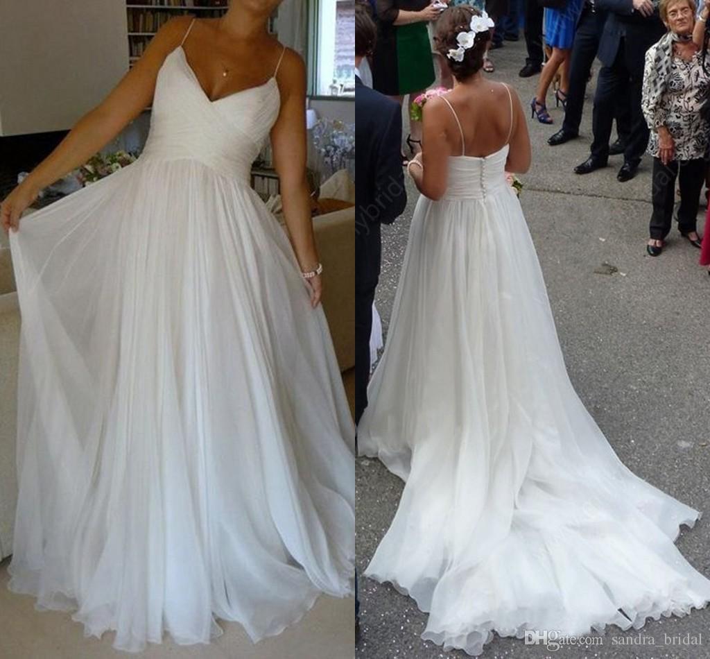 Discount Hot Sale Simple Beach Wedding Dresses Spaghetti Straps ...