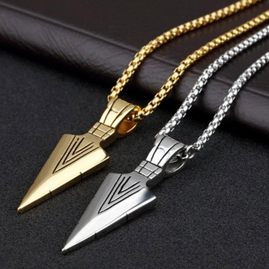 Fashion Mens Vintage Spearhead Arrowhead Gold Pendant Man Necklace Chain Luxury Special Surf Bike Stainless Steel Jewelry 2212