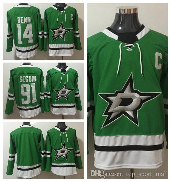 2019 Dallas Stars 14 Jamie Benn Jersey 2018 New Style Men Blank Ice Hockey  91 Tyler Seguin Jerseys Green Color Team All Stitched Good Quality From  Vip sport ... fb2b955fb