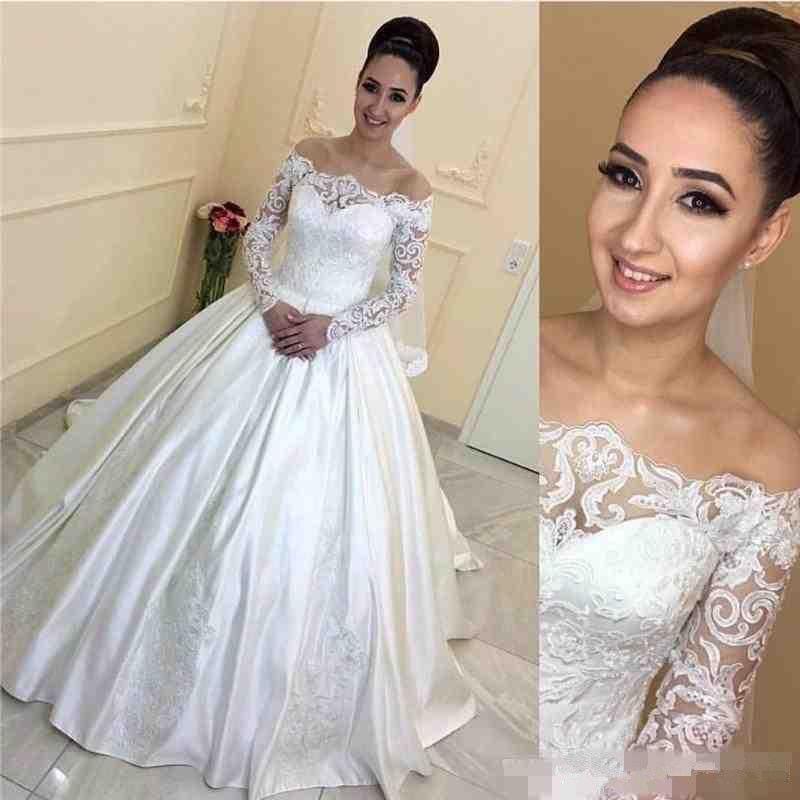 Plus Size Long Sleeve Lace Wedding Dresses 2019 Vintage