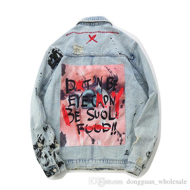 0913969aad ... Jacket  popular brand cca3c f3c73 Mens Graffiti Denim Jackets  Streetwear 2019 Hip Hop Casual Patchwork Ripped Distressed ...