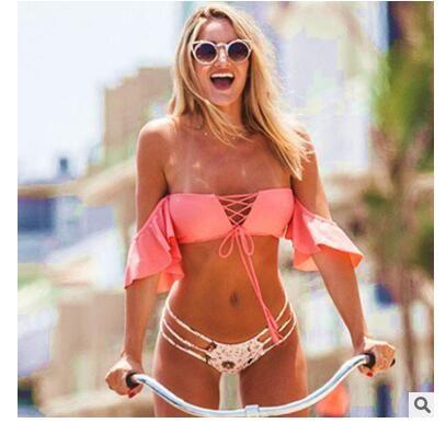 cc77a887c54 2019 Free ShippingSexy Ruffle Bikinis Women Swimsuit Push Up Swimwear Puse  Size Brazilian Bikini Set Beachwear Mesh Bathing Suit Biquini EH 407 From  ...