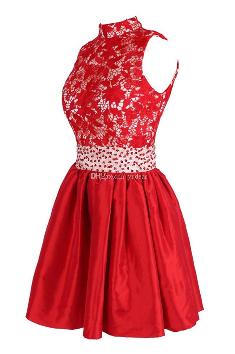 Vintage 2019 High Collar A-line Short Homecoming Dresses Top Heavy Appliques Crystal Beaded Sash Prom Dresses Open Back Cocktail Gowns Cheap