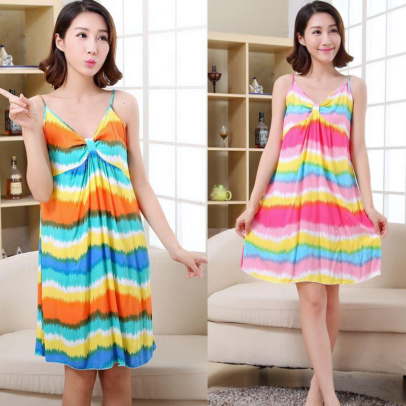 0a7212e93aeea 2019 Women Cotton Nightgown Floral Sleep Dress Sleeveless Sleep Shirt Plus  Size Night Shirt Sexy Nightwear Casual Home Dress B 5415 From Jellwaygood