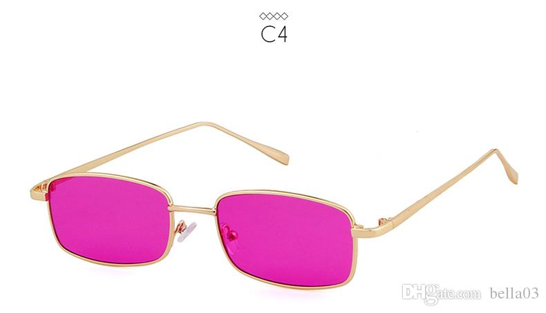 ee75a434b0 2018 Small Narrow Rectangle Sunglasses Women Men Brand Red Clear Lens  Skinny Slim Wire Retro Sun Glasses Shades Foster Grant Sunglasses Spitfire  Sunglasses ...