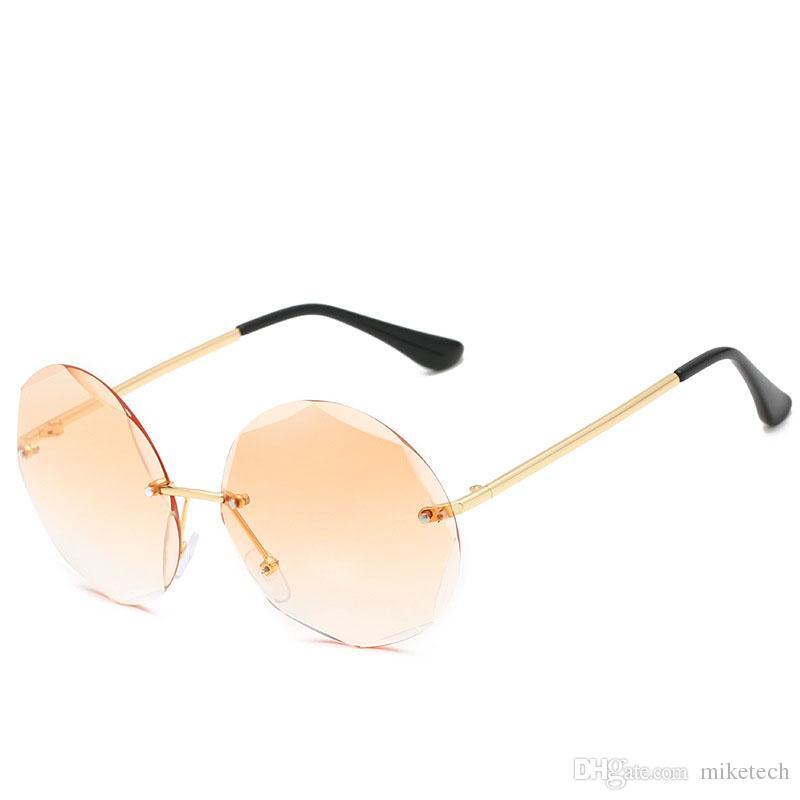 35eb285ef24 Vintage Diamond Cutting Sunglasses Women Luxury Rimless Round UV400 ...