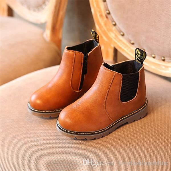5ba2aed3b933 Kids Autumn Baby Boys Oxford Shoes For Children Dress Boots Girls Fashion  Martin Boots Toddler PU Ieather Boots Black Brown Gray EU21 36 Little Kid  Boots ...