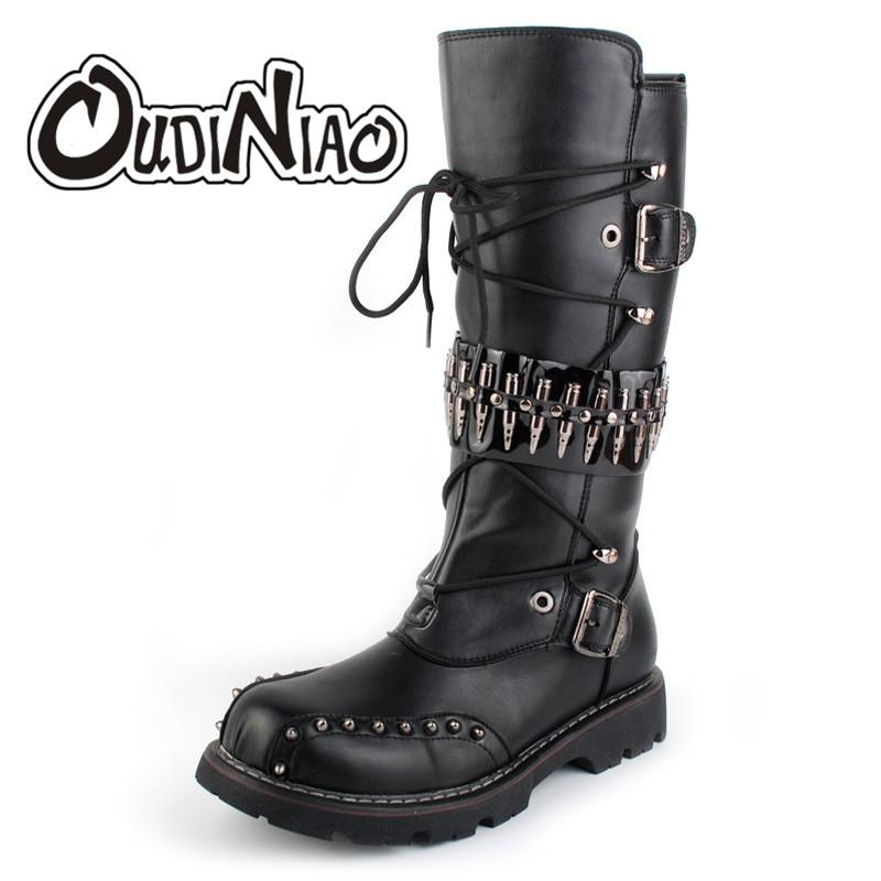 2717c637caf OUDINIAO Buckle Zip Boots Men PU Lace Boots Heavy Metal Rivet Male  Motorcycle Punk Men s Shoes Rock Mid Calf