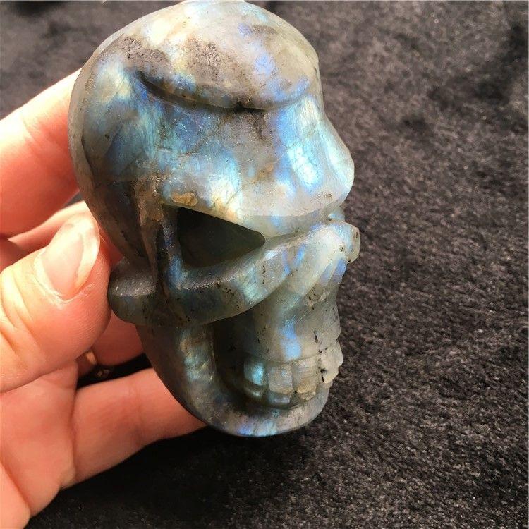 182g Natural Engraved Tumble labradorite Head Gemstone Skull for Home Decoration, Festival Gift, Crystal Reiki Healing Crafts