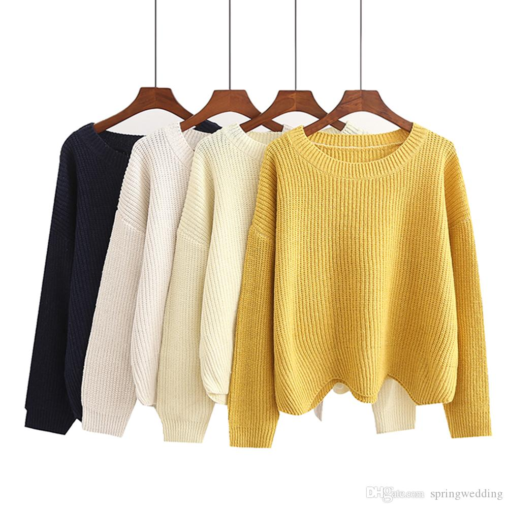 Compre Nuevas Mujeres Otoño Invierno Suéteres Jerseys Estilo Coreano De  Manga Larga Casual Suéter De Cultivos Sueltos De Punto Sueltos Sweter Mujer  FS5693 A ... cb5376264e01