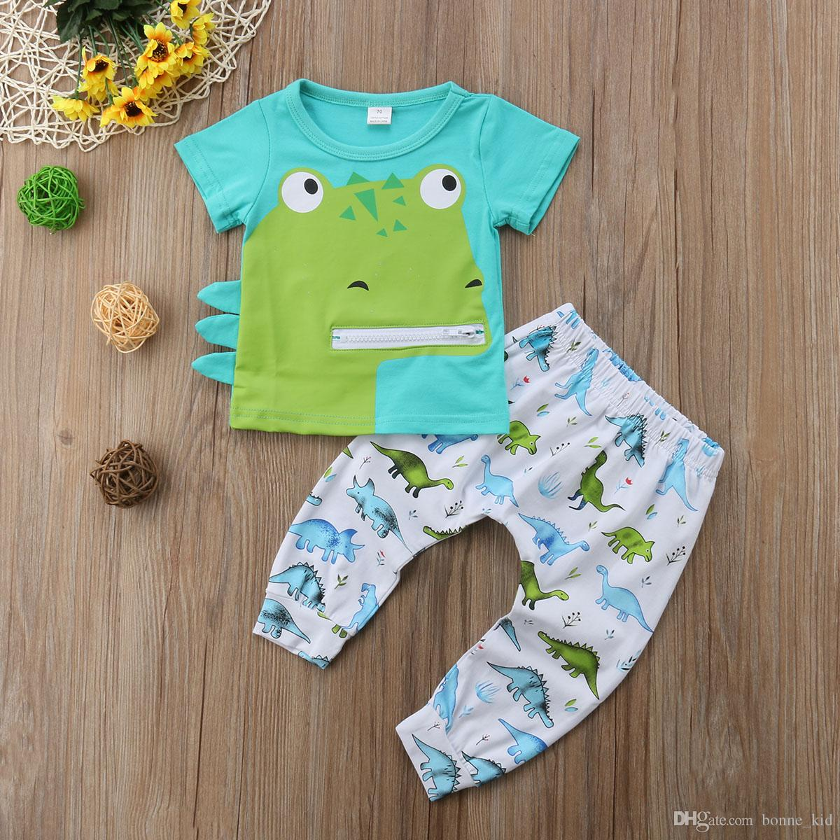 a0c2d7c6981b 2019 Newborn Baby Boys Dinosaur Green T Shirt+Pants Set Outfits Animals  Casual Kids Clothes Costume Infant Baby Boutique 0 24M From Bonne kid