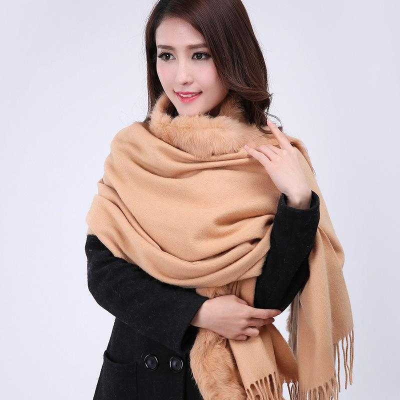 Ligth Gray Women's 100% Wool Cashmere Muffler Rabbit Fur Soft Pashmina Long Poncho Solid Color Cape WS007 Oversize176 x 68cm