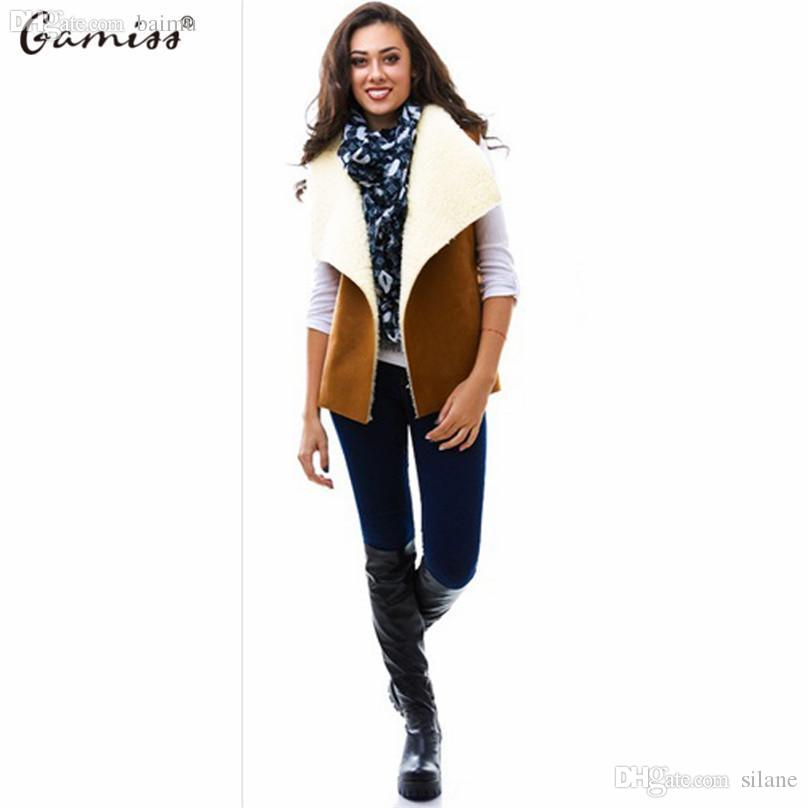 ff9ae7f2e6e 2019 Wholesale Gamiss 2016 Women Casual Basic Sherpa Vest Coat Female  Winter Autumn Warm Sleeveless Outwear Cool Waistcoat For Party Office From  Silane