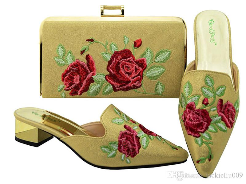 Hot sale red color low heel 3.8CM ladies shoes woth flowers embroidery african shoes match handbag set for dress MM6003