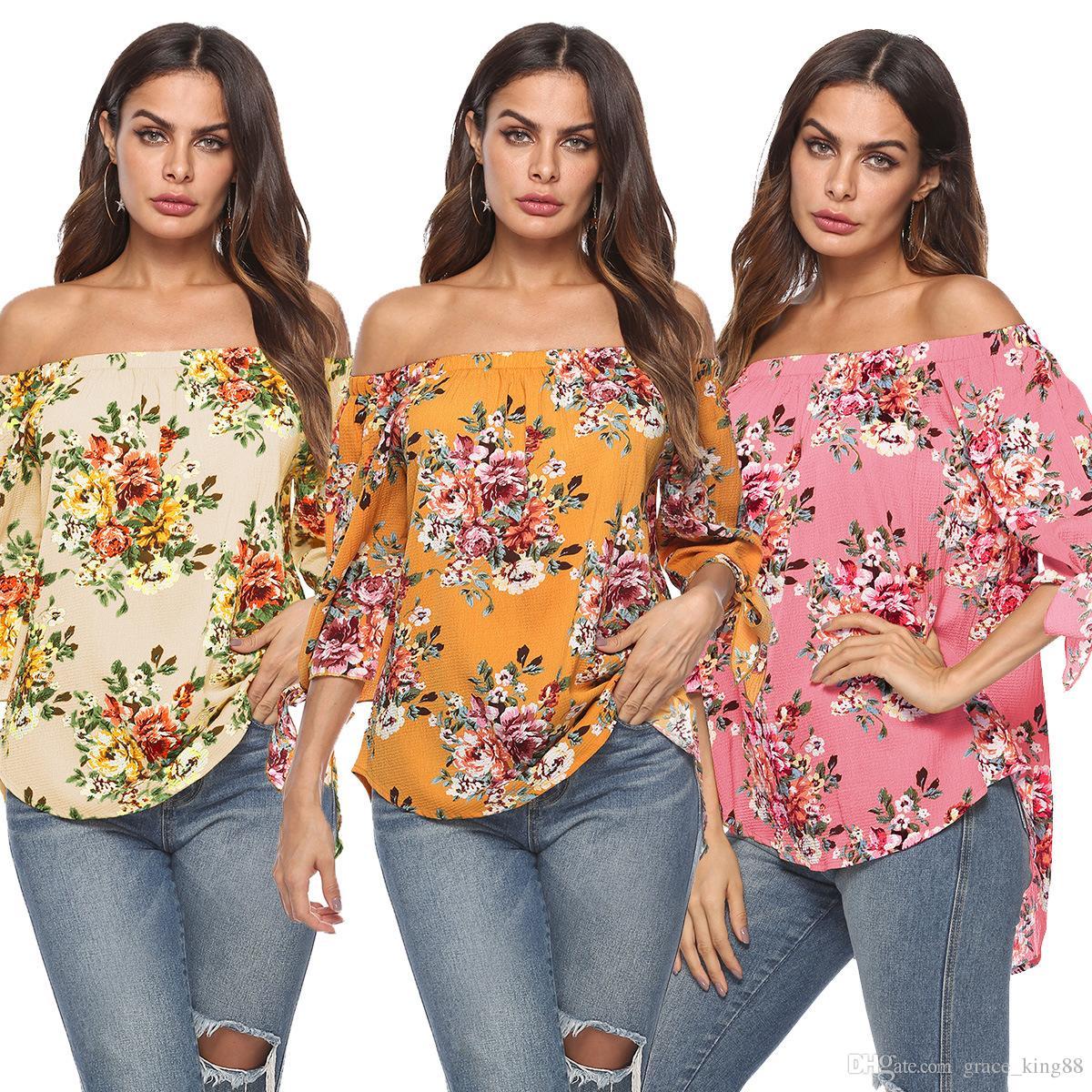 e03ed57cc25 Compre 2018 Nuevo Estilo De Moda Para Mujer Camisa Con Estampado De Flores  Blusa Moda De Mujer Con Hombro Suelto Top Blusa Camiseta S M L XL A  12.06  Del ...