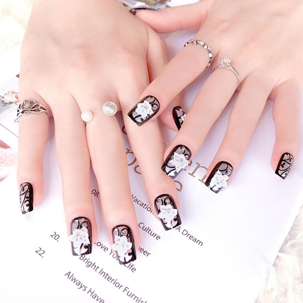 Stylish 3d Bling Nail Art Jewelry Glitter Rhinestone Blue Black