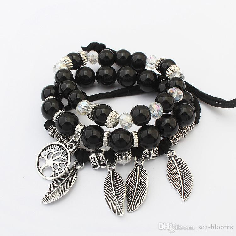 Bohemian Candy Color Multilayer Beads Bracelet Charm Bangles Women Jewelry Feather Leaf Tree of Life Pendant Bracelet 6 Styles G359Q