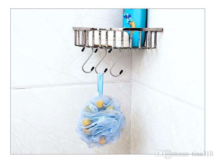 New Stainless steel Multi-function S shape hook hrome Plated Shower Bath Bathroom Curtain Rings Clip Easy Glide Hooks /bag T1I353