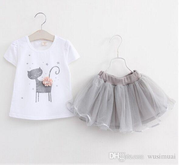 Korea Cute Cat Cartoon Pattern Baby Girl Dress Set Two Piece Sets for Baby Girl Little Kids Clothes Summer Dress