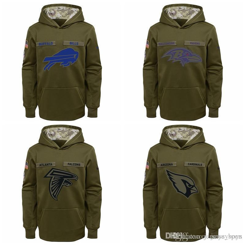 new style a4999 d4b1a Kid Buffalo Bills Baltimore Ravens Atlanta Falcons Ariona Cadinals Youth  Salute to Service Pullover Performance Hoodie - Green