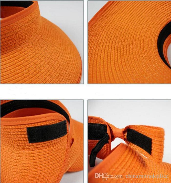 NEW Spring Summer Visors Cap Foldable Wide Large Brim Sun Hat Beach Hats for Women Straw Hat Wholesale Chapeau