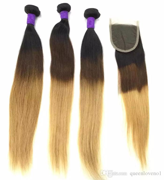 Brasiliano Body Wave Human Remy Weaves Weaves 3/4 Bundles con chiusura Ombre 1b / 4/Double Wefts estensioni dei capelli