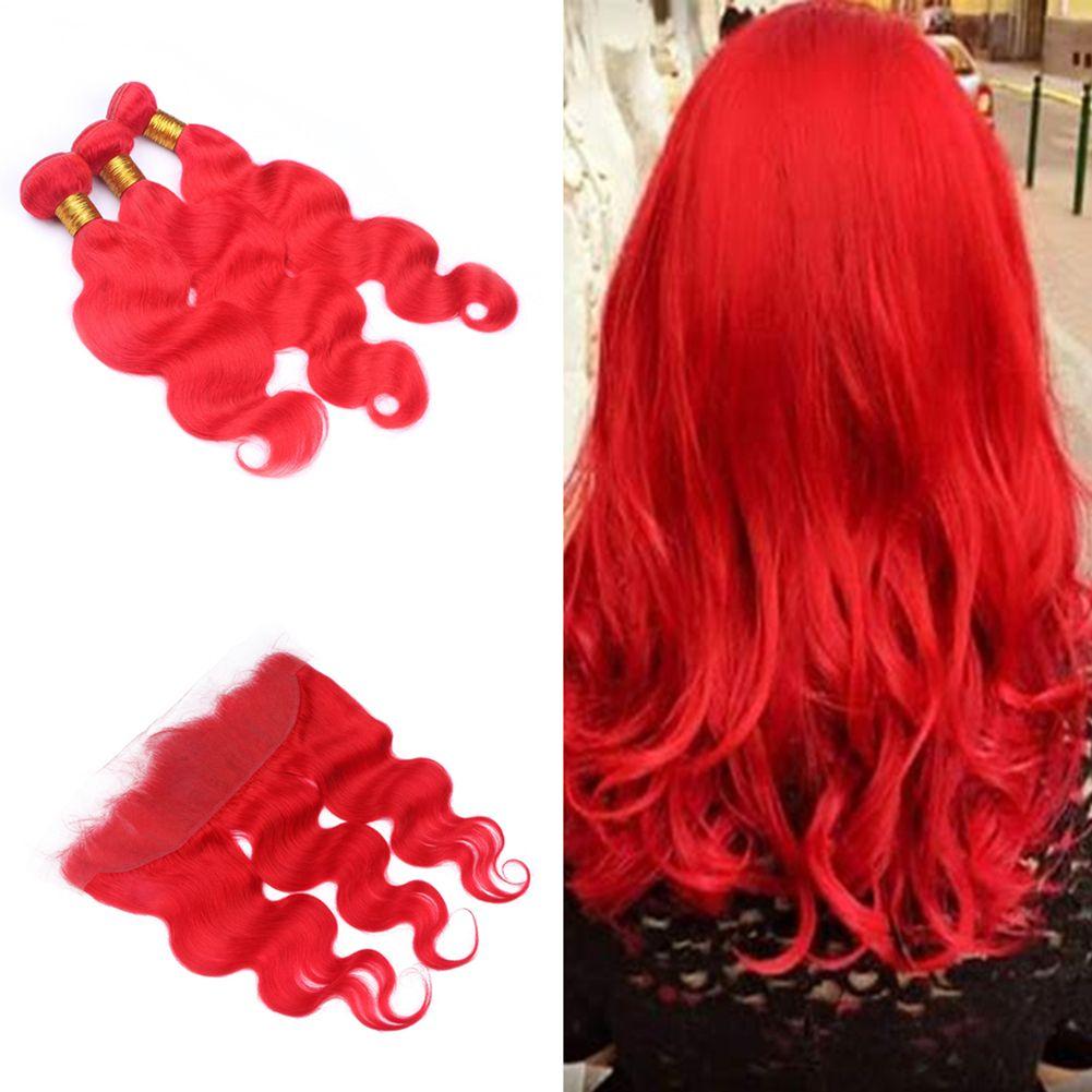 Grosshandel Helle Rote Farbe Korper Wellen Menschenhaar Spinnt Mit 13