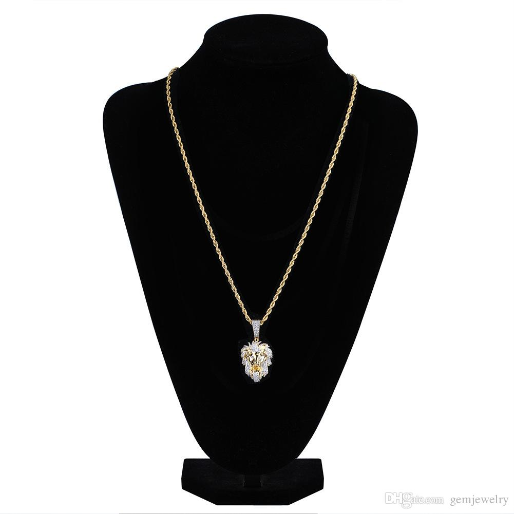Iced Out Gold Color Micro Pave Cubic Zircon Lion Head Pendant Necklace for Men Women Hip Hop Bling Party Jewelry