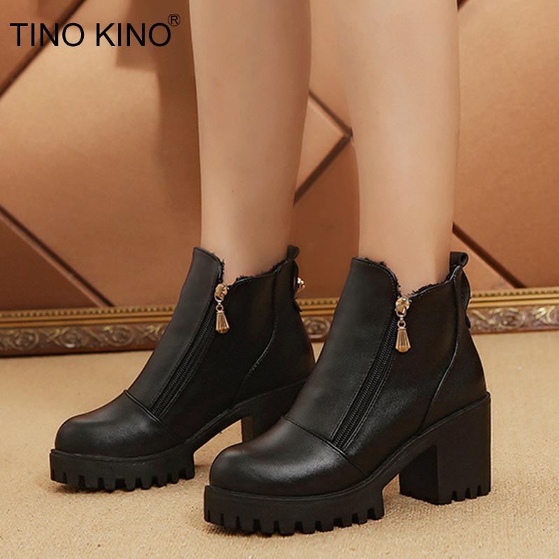 ef5e6e9bbf Compre Tino Kino Mulheres Ankle Boots Outono Plataforma Das Senhoras Martin Botas  Moda Zip Grosso De Salto Alto Sapatos Femininos Sapatos Casuais De Wasabiu  ...