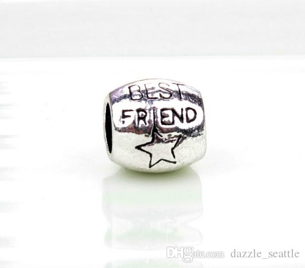 acb1aa03f Wholesale Best Friend Star Charm Sterling Silver European Charms Bead Big  Hole Fit Pandora Bracelets Snake Chain Fashion DIY Jewelry Silver Charm  Beads Fit ...