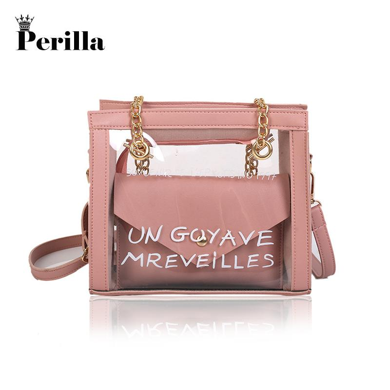 Perilla Women Transparent Bag Clear PVC Jelly Small Tote Summer ... a51d9aa3b5789