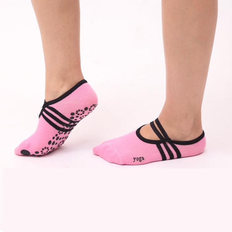 Women's Pink Ballet style Backless yoga socks Anti-Slip silicone fitness sports socks with instep dance aerobics socks