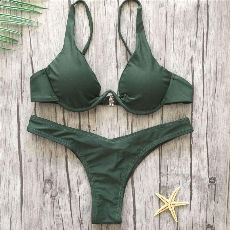 womens sexy underwire steel push up padded bra top swimsuit deep v bottom bikinis 2018 hot solid maio de praia swimwear