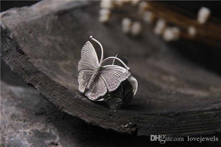 designer jewelry fashion charms 925 sterling silver rings Handmade Butterfly exaggerated ring female personality retro vintage china direct